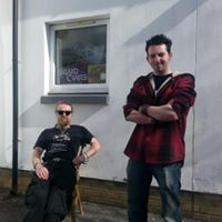 Jim and Paddy taking a break from the foundry work, in a rare moment of sunshine on the Isle of Skye.