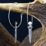 Sterling Silver Viking Charm Sword Earrings( Pair)