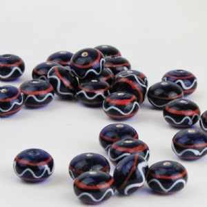 Dark Blue Glass Bead with Red and White Trails Large