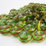 Green Glass Bead with Red and Yellow Trails