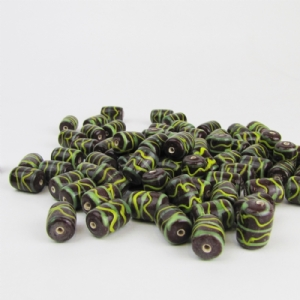 Tubular Burgandy Glass Bead with Green and Yellow Trails