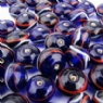 Dark Blue Glass Bead with Red and White Trails Medium