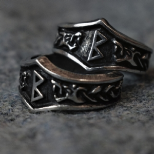 Berkanan Letter B Rune Ring - Adjustable