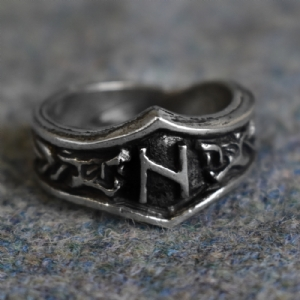 Hagalaz Letter H Rune Ring - Adjustable