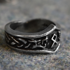 Othila Letter O Rune Ring - Adjustable