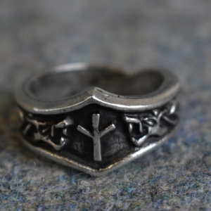 Algiz Letter X or Z Rune Ring - Adjustable