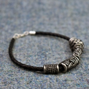 Leather Bracelet with Silver Fittings