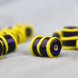 Tubular Blue Glass Bead with Yellow Ribs